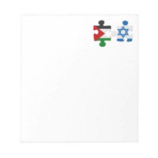 Israel- und Palästina-Konflikt-Flaggen-Puzzlespiel Notizblock