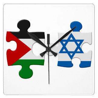 Israel- und Palästina-Konflikt-Flaggen-Puzzlespiel Quadratische Wanduhr