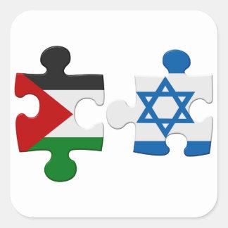 Israel- und Palästina-Konflikt-Flaggen-Puzzlespiel Quadratischer Aufkleber