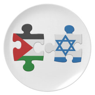 Israel- und Palästina-Konflikt-Flaggen-Puzzlespiel Teller