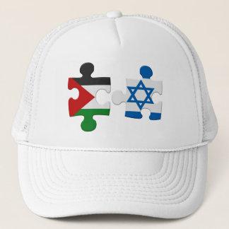 Israel- und Palästina-Konflikt-Flaggen-Puzzlespiel Truckerkappe