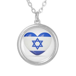 Israelisches Flaggen-Herz Versilberte Kette