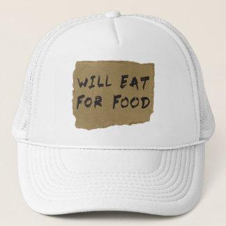 Isst für Nahrungsmittelpappzeichen Truckerkappe