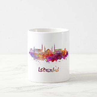 Istanbul skyline im Watercolor Kaffeetasse