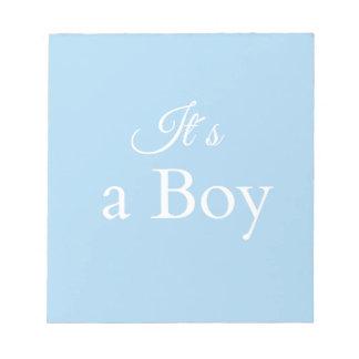 it´s ein Junge Notizblock