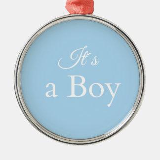 it´s ein Junge Rundes Silberfarbenes Ornament