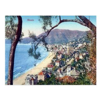 Italien- Alassio- Sandy-Strand und Stadt Postkarten