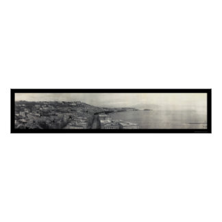 Italien-Bucht von Neapel-Foto 1909 Posterdruck