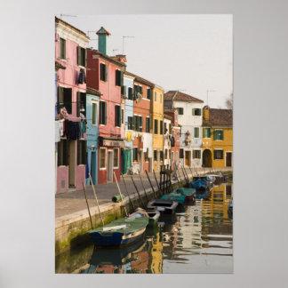 Italien Burano Bunte Häuser von Linie a Posterdruck
