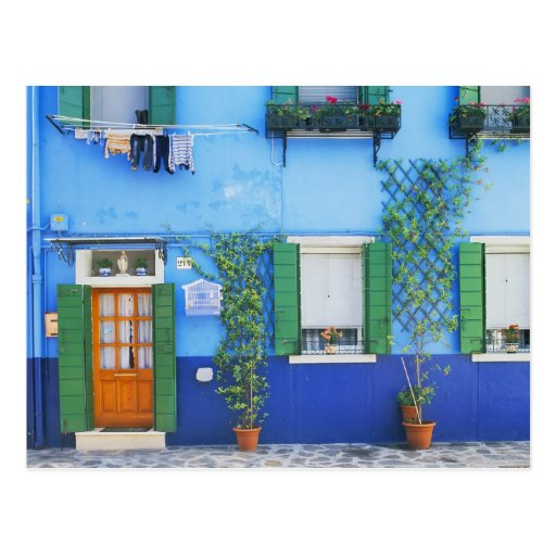 Italien, Burano. Ein buntes Haus in Burano nahe Postkarte