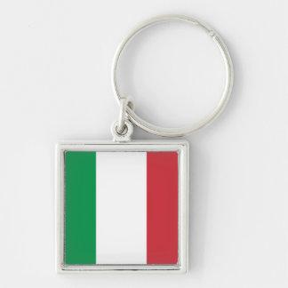 Italien-Flagge Keychain Silberfarbener Quadratischer Schlüsselanhänger