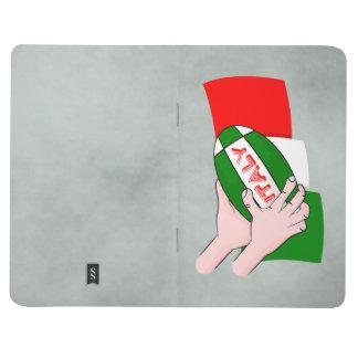 Italien-Flagge mit Cartoon-Rugby-Ball Taschennotizbuch