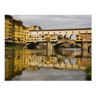 Italien, Florenz, Reflexionen im Arno Postkarte