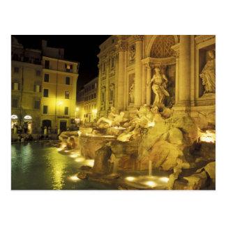 Italien, Rom. Trevi-Brunnen nachts Postkarte