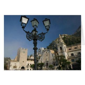 ITALIEN, Sizilien, TAORMINA: Marktplatz Ix Aprile, Grußkarte