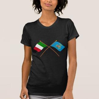 Italien und Lazio gekreuzte Flaggen T-Shirt