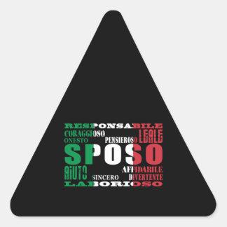 Italiener-Bräutigame: Qualitäten Dreieckiger Aufkleber