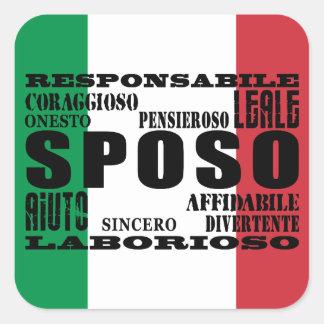 Italiener-Bräutigame: Qualitäten Quadratischer Aufkleber