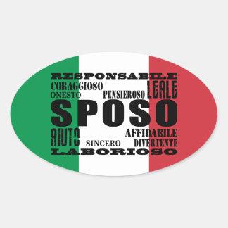 Italiener-Bräutigame: Qualitäten Ovaler Aufkleber