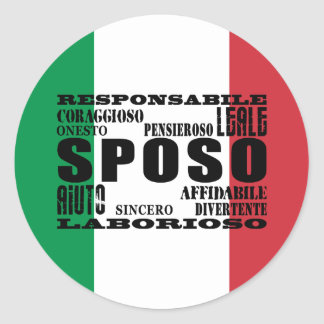 Italiener-Bräutigame: Qualitäten Runder Aufkleber