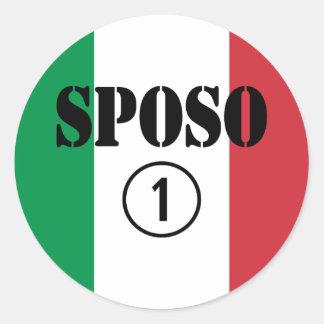 Italiener-Bräutigame: Sposo Numero UNO Runder Aufkleber