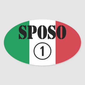Italiener-Bräutigame: Sposo Numero UNO Ovaler Aufkleber