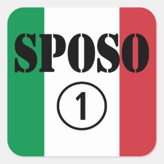 Italiener-Bräutigame: Sposo Numero UNO Quadrat-Aufkleber