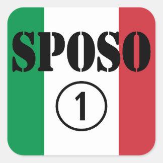 Italiener-Bräutigame: Sposo Numero UNO Quadratischer Aufkleber