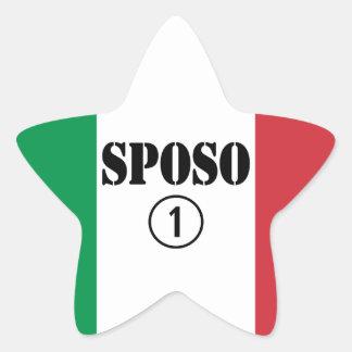 Italiener-Bräutigame: Sposo Numero UNO Stern Aufkleber