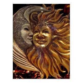 Italiener Sun u. Mond Carnaval Masken Postkarte