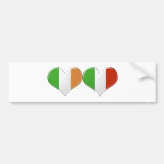 Italiener-und Iren-küssende Herz-Flaggen Autoaufkleber