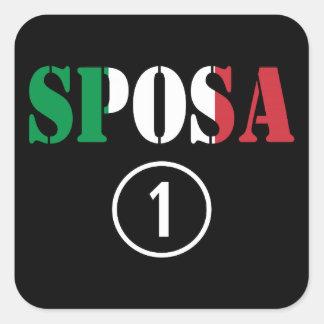 Italienische Bräute: Sposa Numero UNO Quadrataufkleber