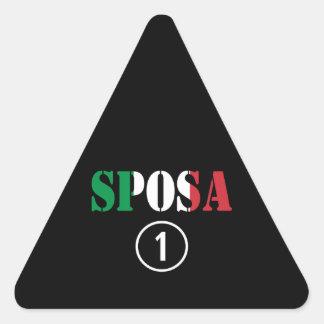 Italienische Bräute: Sposa Numero UNO Dreieckiger Aufkleber