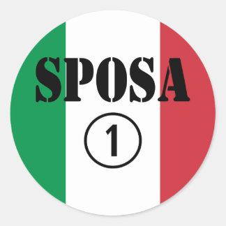 Italienische Bräute: Sposa Numero UNO Runder Aufkleber