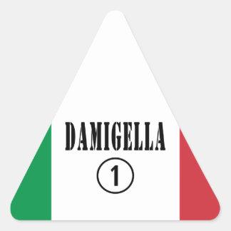 Italienische Brautjungfern: Damigella Numero UNO Dreieckiger Aufkleber