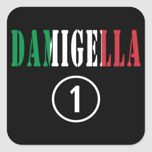 Italienische Brautjungfern: Damigella Numero UNO Quadratsticker