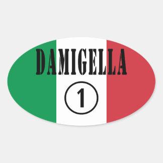 Italienische Brautjungfern: Damigella Numero UNO Ovaler Aufkleber