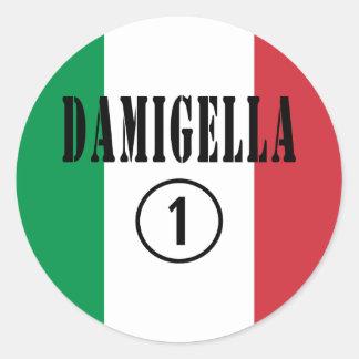 Italienische Brautjungfern: Damigella Numero UNO Runder Aufkleber
