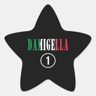Italienische Brautjungfern: Damigella Numero UNO Stern Aufkleber
