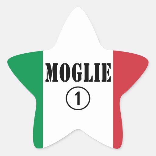 Italienische Ehefrauen: Moglie Numero UNO Stern Aufkleber