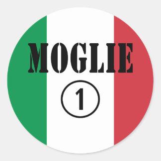 Italienische Ehefrauen: Moglie Numero UNO Runde Sticker