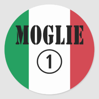 Italienische Ehefrauen: Moglie Numero UNO Runder Aufkleber