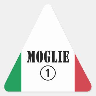 Italienische Ehefrauen: Moglie Numero UNO Dreieckiger Aufkleber