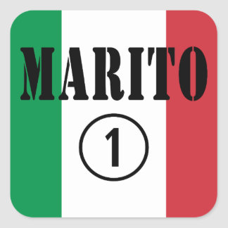 Italienische Ehemänner: Marito Numero UNO Quadrataufkleber