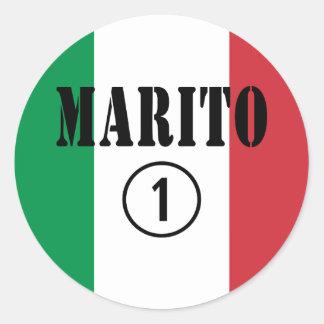 Italienische Ehemänner: Marito Numero UNO Runder Aufkleber