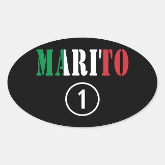 Italienische Ehemänner: Marito Numero UNO Ovaler Aufkleber