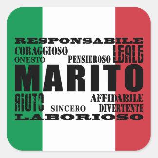 Italienische Ehemänner: Qualitäten Quadratischer Aufkleber