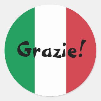 Italienische Flagge danken Ihnen Grazie! Runder Aufkleber