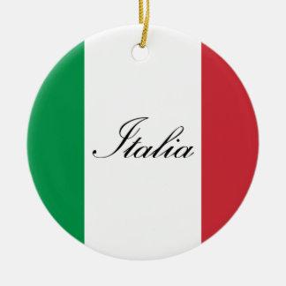 Italienische Flagge - Flagge von Italien - Italien Rundes Keramik Ornament