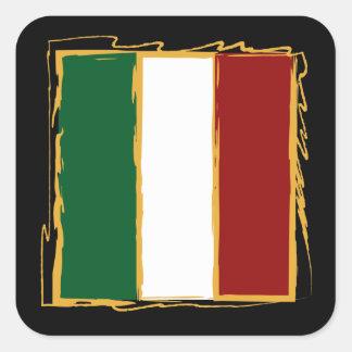 Italienische Flagge im abstrakten Gekritzel Quadrataufkleber